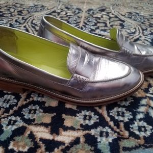 Boden silver leather loafers size 38